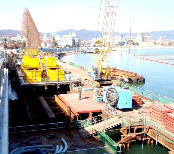 近江大橋有料道路西詰道路改築工事
